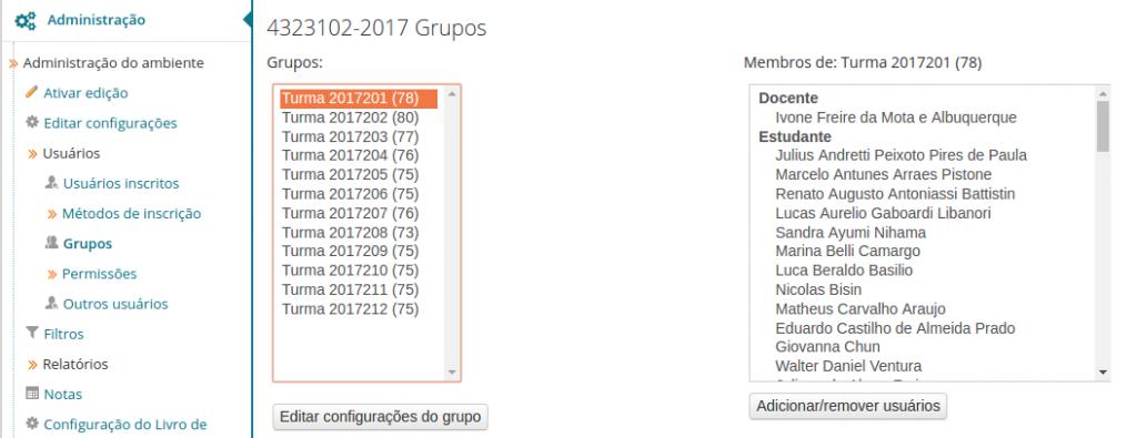 Opcionalmente, verifique que as inscrições dos alunos foram efetuadas corretamente, clicando em Usuários / Grupos